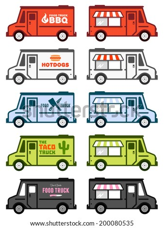 Set of food truck illustrations and graphics - stock photo