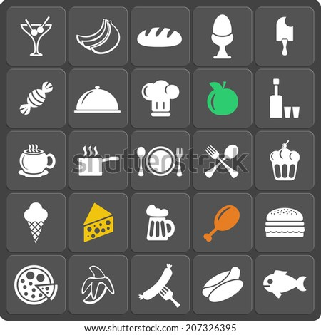 Set of 25 food web and mobile icons in flat design. Raster copy.
