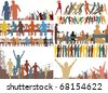 Set of foreground illustrations of colorful people - stock photo