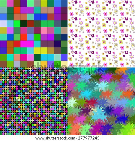 Set of four abstract backgrounds with colorful elements to create your creativity. Rastered copy - stock photo