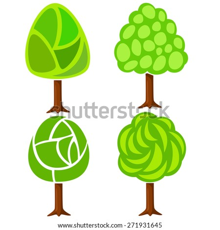 Set of four abstract green trees isolated on white background - stock photo
