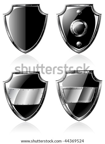 Set of four black steel shields isolated on white - raster illustration