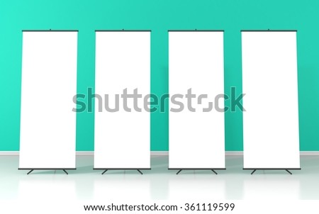 Set of four blank roll up posters - vertical billboard for text on green background - stock photo
