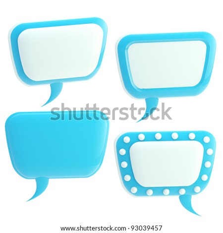 Set of four blue and white glossy text bubbles isolated on white