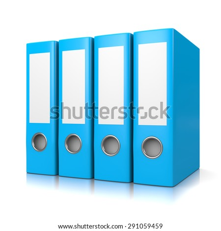 Set of Four Blue Binders Isolated on White Background 3D Illustration - stock photo