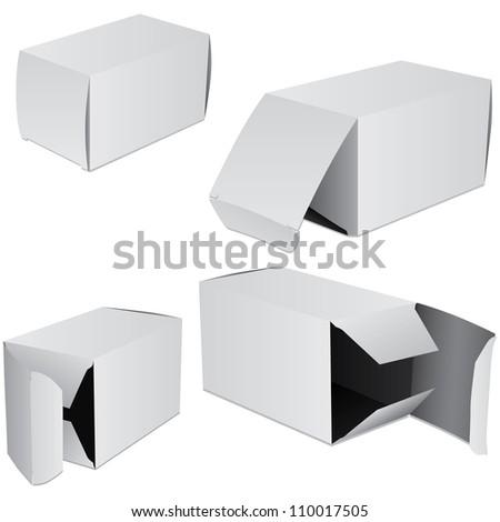 Set of four boxes - stock photo