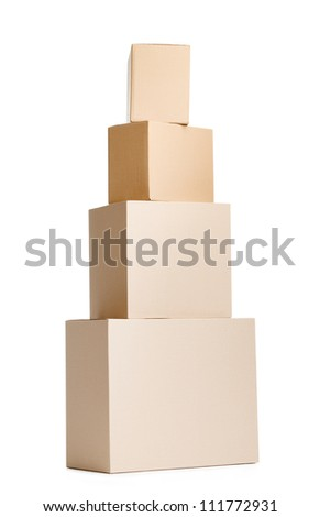 Set of four cardboard boxes, isolated, white background - stock photo