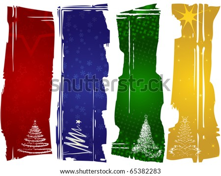 Set of four Christmas banners - stock photo