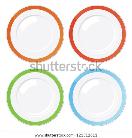 Set of four clean plates with colored borders isolated on white - stock photo