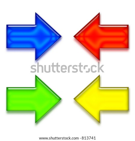 Set of four colored arrows for internet or general use.
