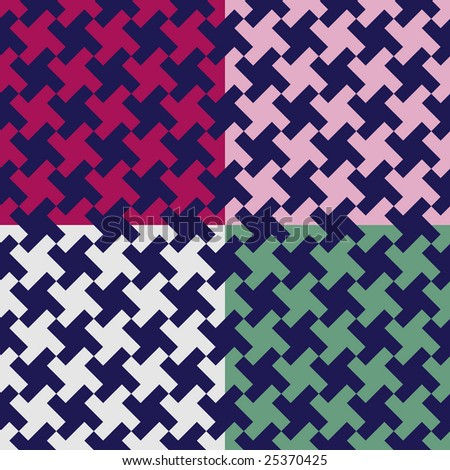 Set of four colored houndstooth pattern swatches - stock photo