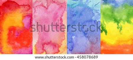 Set of four colored watercolor textures.