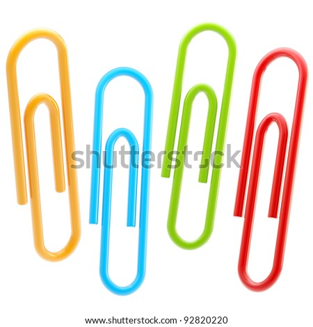 Set of four colorful glossy paper clips isolated on white