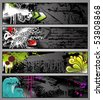 set of four colorful graffiti-style urban banners - see my port for corresponding vector file - stock vector