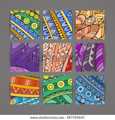 Set of four colorful intricate patterns. Doodle. Zentangle