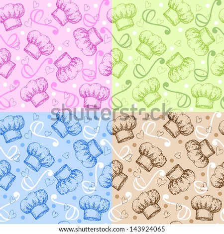 Set of four cooking theme seamless patterns with chef hat. Raster version. Vector is also available in my gallery - stock photo