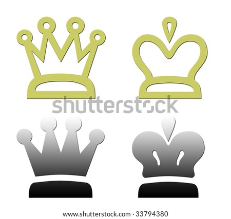Set of four crowns isolated on white background.
