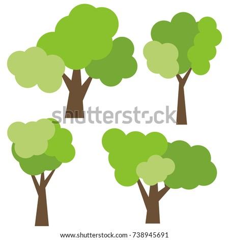 Set of four different cartoon green trees isolated on white background.