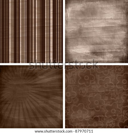 set of four different retro  pattern scrapbook backgrounds - stock photo