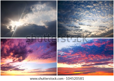 Set of four dramatic sunset Sky backgrounds - stock photo