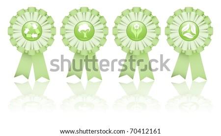 Set of four eco friendly cockades - stock photo