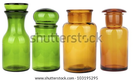 set of four empty glass jars isolated on white background - stock photo