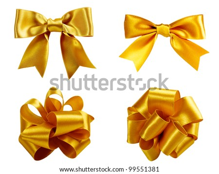 set of four golden ribbon gift bow isolated on white - stock photo