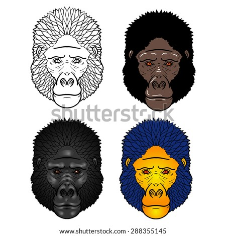 Set of four Gorilla head with gradients. isolation on a white background - stock photo