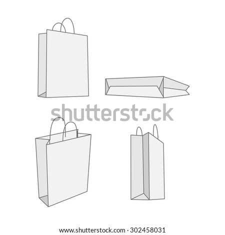 Set of four graphic white paper Bag. Empty Package for your Branding - stock photo