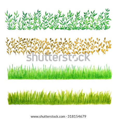 Set of Four Grass Borders, Watercolor Hand Drawn and Painted, Isolated on White Background - stock photo