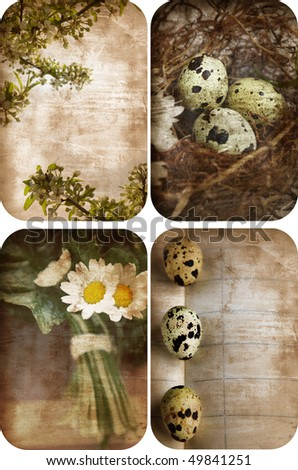 Set of four grunge nature postcards with eggs, flowers and space for text - stock photo