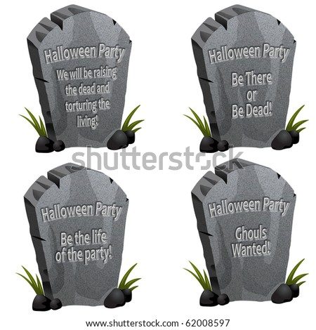 Set of four Halloween party tombstones with cute messages - stock photo
