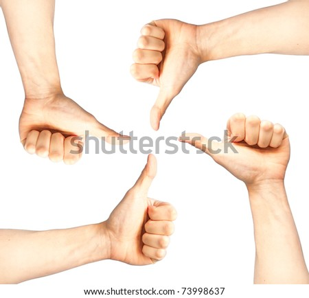 Set of four hands with thumb up isolated on white - stock photo