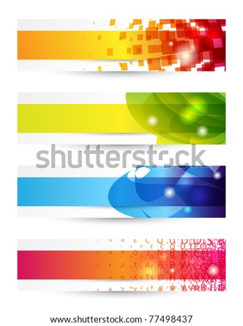 Set of four headers or banners with copy space - stock photo