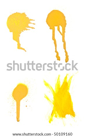 Set of four high resolution spray paint strokes for use with designs. Isolated on white background. - stock photo