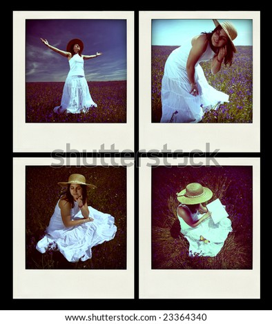 set of four instant photos with young girl outdoors - Exposure and white balance are intentionally off - stock photo