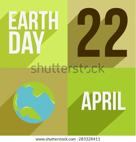 Set of four long shadow card designs for Earth Day. - stock photo
