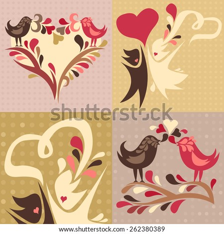 set of four love themed cards featuring two love birds and a wedding couple - stock photo