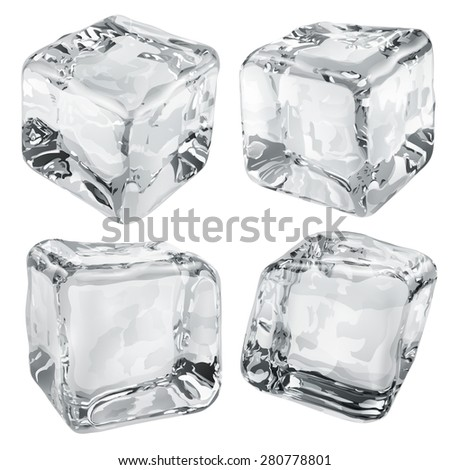 Set of four opaque ice cubes in gray colors - stock photo