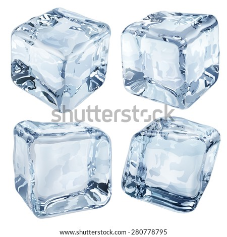 Set of four opaque ice cubes in light blue colors - stock photo