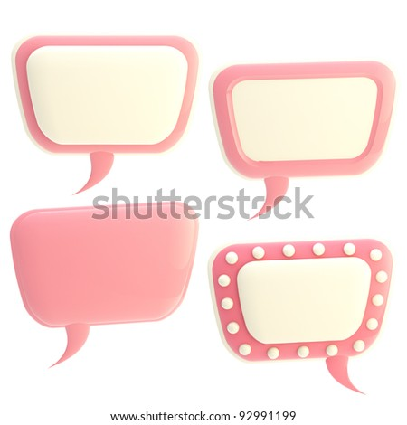 Set of four pink and white glossy text bubbles isolated on white