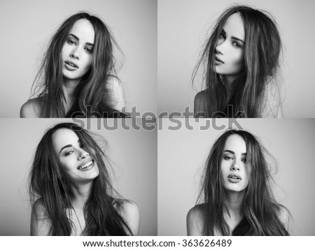 Set of four portraits. Fashion portrait of elegant woman with magnificent hair and awesome lips. Redhead girl. Perfect make-up. Hairstyle. Black and white - stock photo