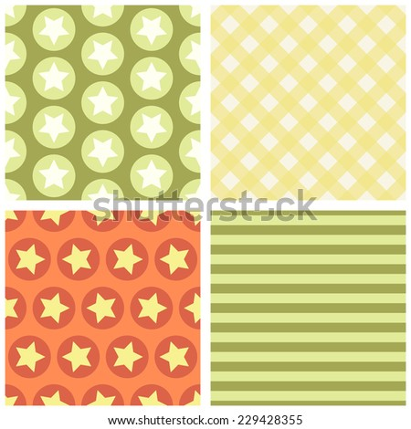 Set of four primitive retro patterns with stars, gingham and striped ideal for baby shower
