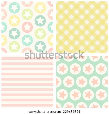 Set of four primitive retro seamless patterns with stars and circles, gingham and striped ideal for baby shower
