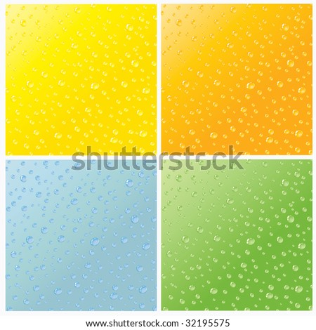 Set of four seam water dew drops texture - stock photo