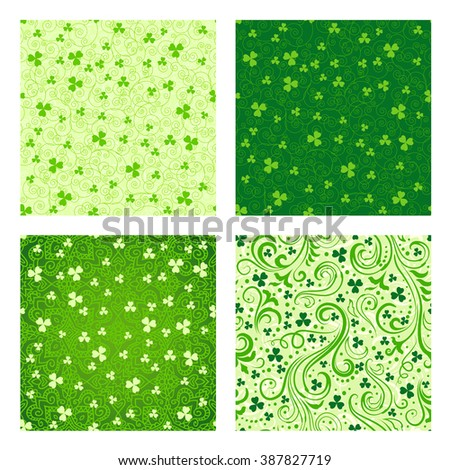 Set of four seamless green St. Patrick's day backgrounds with floral swirls and clover leaves. - stock photo