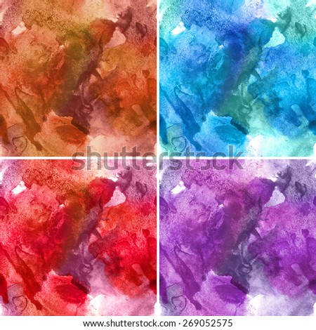 Set of four seamless pattern. Abstract watercolor hand painted background - stock photo