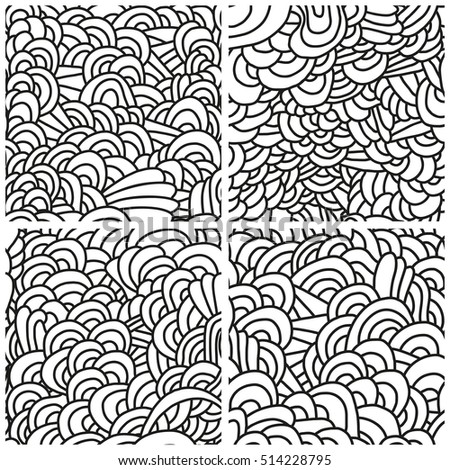 Set of four seamless patterns. Monochrome backgrounds with linear doodles, scales, diagonal waves, hand drawn graphics made with graphics tablet.