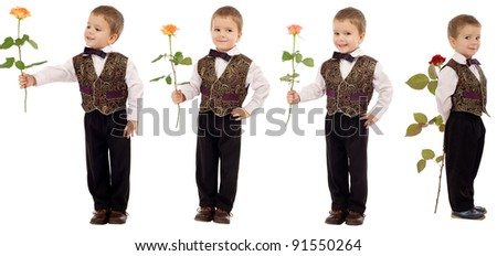 Set of four smiling little boys with rose, isolated on white - stock photo