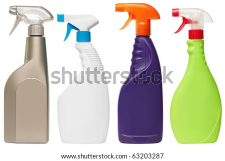 set of four spray bottles isolated on white background - stock photo